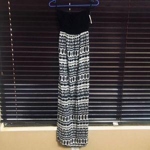 Strapless black and white maxi dress